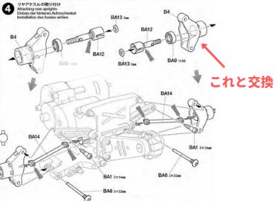 トーインリヤアップライトを取り付ける位置の説明