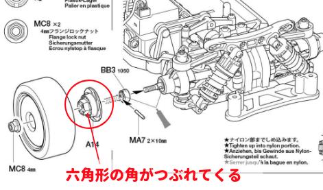 TT-02のホイールハブの説明