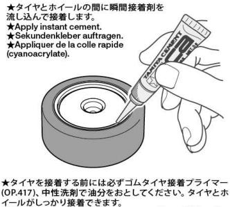 タイヤの接着方法の説明