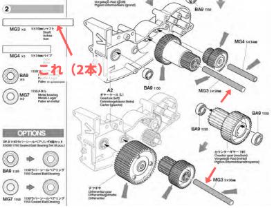 軽量ギヤシャフトを取り付ける位置の説明図